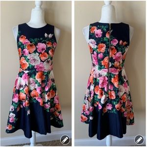 Eliza J placed rose printed dress #4673